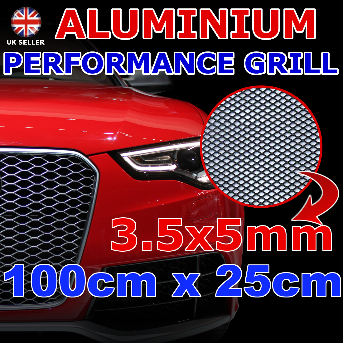 3.5x5mm MESH 25x100cm ALUMINIUM NET BLACK RACE RACING ...